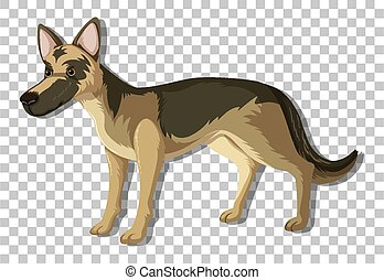 German Shepherd in standing position cartoon character isolated on transparent background