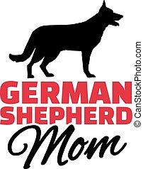 German Shepherd Mom with dog silhouette