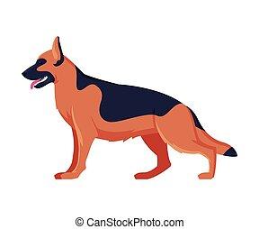 German Shepherd Purebred Dog, Pet Animal, Side View Vector Illustration