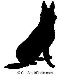 Black silhouette of a sitting German Shepherd