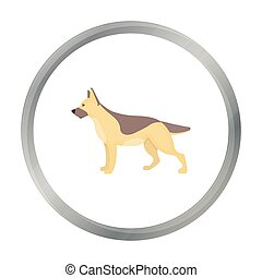 German shepherd vector icon in cartoon style for web
