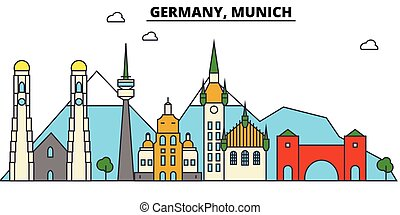 Germany, Munich. City skyline architecture, buildings, streets, silhouette, landscape, panorama landmarks Editable strokes Flat design line vector illustration concept Isolated icons
