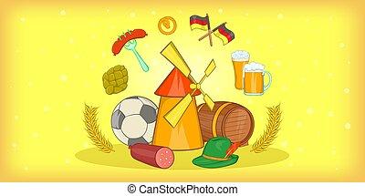 Germany travel horizontal banner, cartoon style