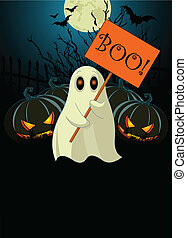 Halloween invitation of Very cute ghost with %u201CBoo%u201D sign