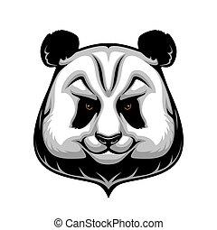 Giant panda bear mascot, wild animal head icon
