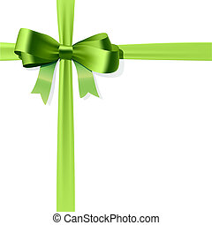 Vector illustration of green gift bow