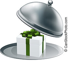 Illustration of a luxury gift on a silver platter tied with green ribbon and bow