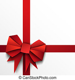 Gift paper red bow and ribbon on white background