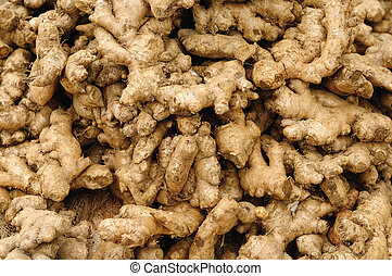 Closeup of freshly produced bunch of ginger roots