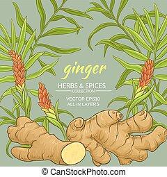 ginger plant vector frame on color background