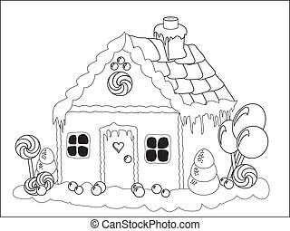 Vector illustration. Children's activities - colouring page of a gingerbread house