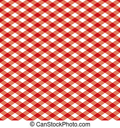 Seamless gingham plaid pattern in red and white.