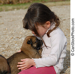 girl and little dog