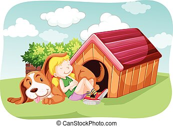 Girl and pet dog in the garden