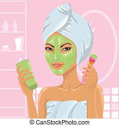Girl applying facial mask