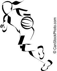 Stylized illustration of a girl basketball player dribbling on the fast break.