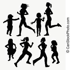 Girl, children running silhouettes