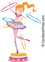 Illustration of a Female Circus Performer Twirling Hoops While Standing on a Platform