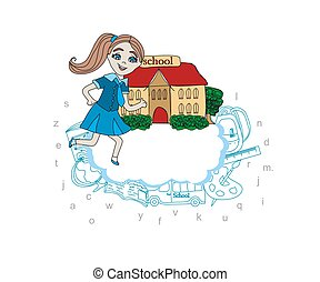 Girl going to school - card