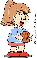 Girl holding a basketball ball