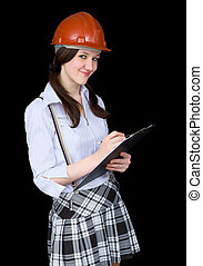Girl in a helmet with a tablet in hands