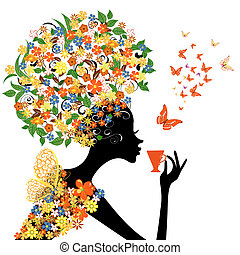girl in flowers with a hot cup