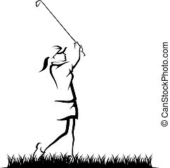 Girl in Golfing in Rough.