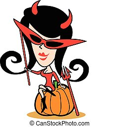 Girl In Halloween Costume Clip Art