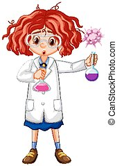 Girl in science gown holding test tubes