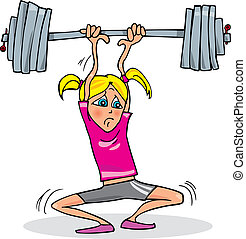 Girl lifting heavy weight