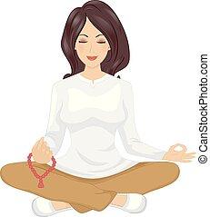 Girl Meditation Mala Beads Illustration