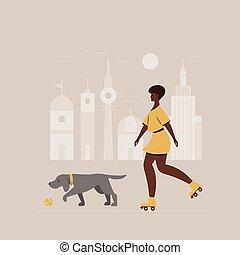 Girl on roller skates with a dog. Illustration.