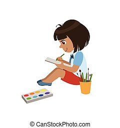 Girl Sketching In Notebook Colorful Simple Design Vector Drawing Isolated On White Background