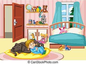 Girl sleeping with dog in bedroom