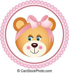 Girl Teddy Bear Sticker