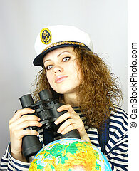 girl the captain with the globe