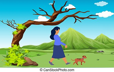 girl walking with her dog in the garden