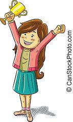 cartoon illustration of cute pretty girl win a trophy