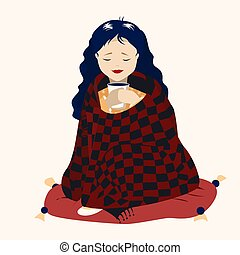 girl with a Cup of coffee and a blanket