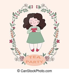 girl with a cup of tea,
