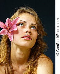 girl with a lily in hairs