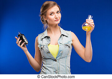 girl with beaker and hours