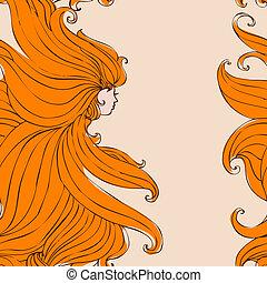 Girl with beautiful hair seamless