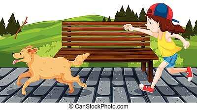 Girl with dog in the park