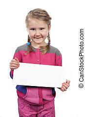 girl with empty horizontal blank