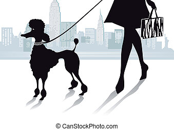 Girl with Poodle in the City