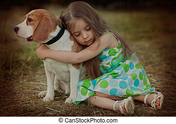 girl wiuth dog