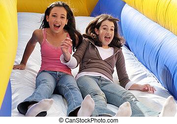 Girls on the slide