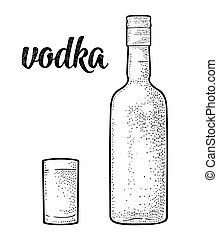 Glass and bottle. Calligraphic handwriting lettering vodka. Vintage black vector engraving illustration for label, poster. Isolated on white background