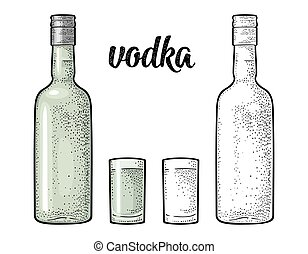 Glass and bottle. Calligraphic handwriting lettering vodka. Vintage color vector engraving illustration for label, poster. Isolated on white background